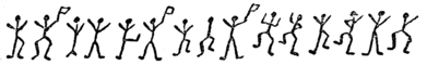 Picture of several figures of dancing men, some holding flags